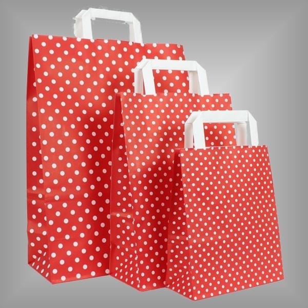 250 Papiertüten rot mit weißen Punkten